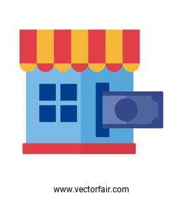 bill dollar with store building Payment online flat style icon