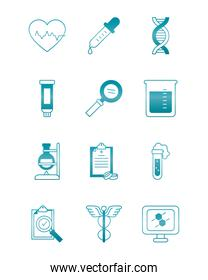 cardio heart with medical, science and investigation icon set, gradient style