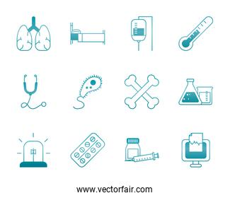human organs with medical, science and investigation icon set, gradient style