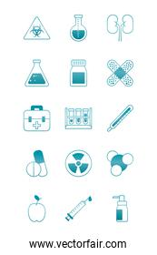 nuclear symbol and science and investigation icon set, gradient style