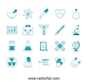 chemical flasks and medical, science and investigation icon set, gradient style