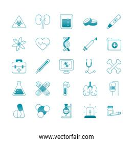 dna chain with medical, science and investigation icon set, gradient style