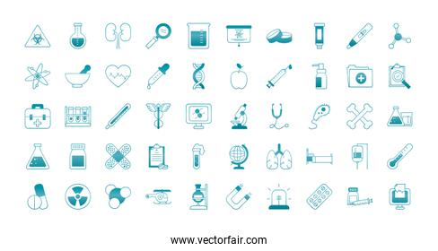 medical, science and investigation icon set, gradient style