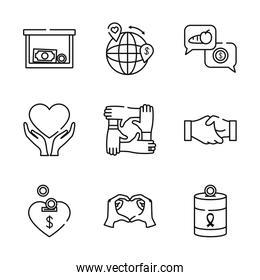 global sphere and charity and donation icon set, line style