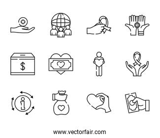 global sphere and humanitarian aids icon set, line style
