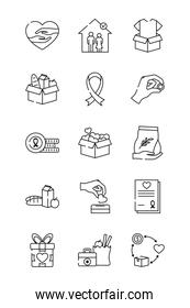 hearts and charity and donation icon set, line style