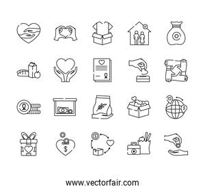 boxes and humanitarian aids icon set, line style