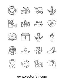 hands and charity and donation icon set, line style