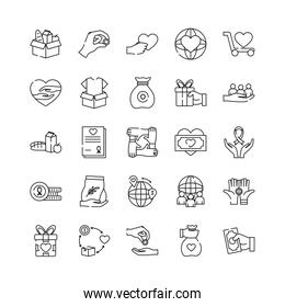 icon set of charity and donation concept, line style