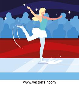 woman practicing figure skating , ice sport