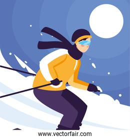 man with mountain ski, standing and in motion. Alpine skiing, extreme winter sport