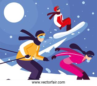 group of people practicing winter sports, extreme winter sport