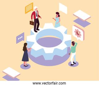 group of people working on a project, analysis and planning, consulting, team work, project management, financial report and strategy