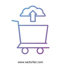 cloud computing with shopping cart Payment online line degradient style