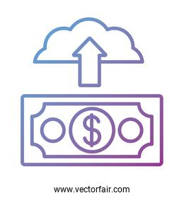 cloud computing with bill dollar Payment online line degradient style
