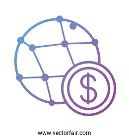 coin money with sphere planet payment online line degradient style