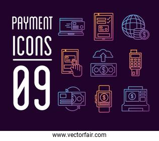 bundle of Payment online set icons