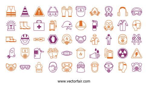 bundle of protection tools set icons