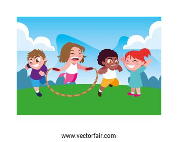 children smiling and playing with skipping rope