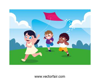 children smiling and playing with a kite on background landscape