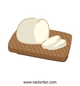 delicious cheese in wooden board kitchen