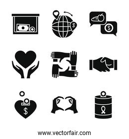 global sphere and charity and donation icon set, silhouette style