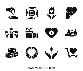 hands and humanitarian aids icon set, silhouette style