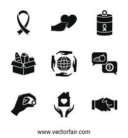 solidarity ribbon and charity and donation icon set, silhouette style