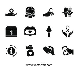 global sphere and humanitarian aids icon set, silhouette style