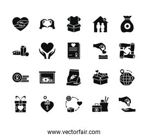 boxes and humanitarian aids icon set, silhouette style