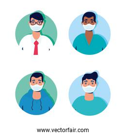 group of men using face masks characters