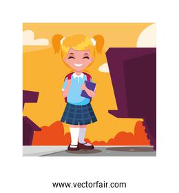 student girl with school suitcase, back to school