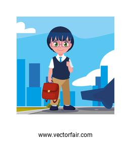 student boy with school suitcase, back to school