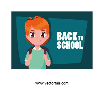 student boy with back to school label, back to school