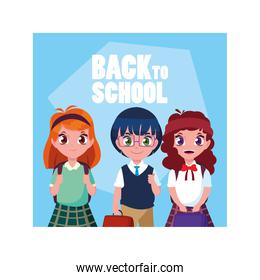 student children with back to school label, back to school