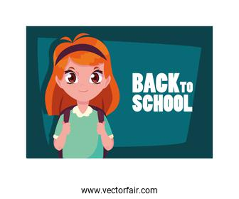 student girl with back to school label, back to school