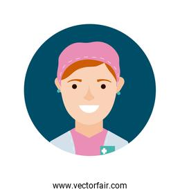 female surgeon character block and flat style icon