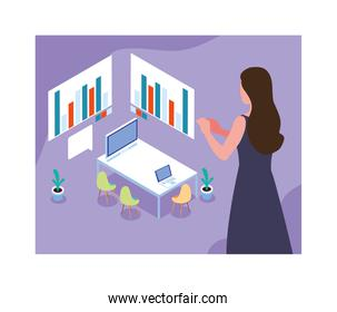 woman working on a project, work office