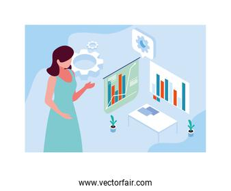 woman with graphs in front, business working processes