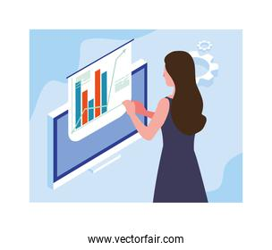 woman working in front of computer screen
