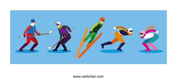 set of people practicing extreme winter sport