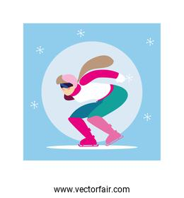 woman skating on ice rink, winter sport