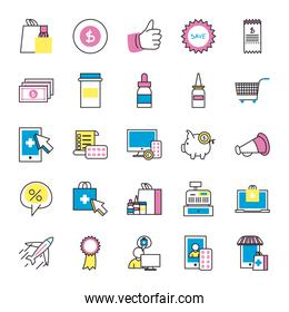 Shopping online and medical care fill style icon set vector design