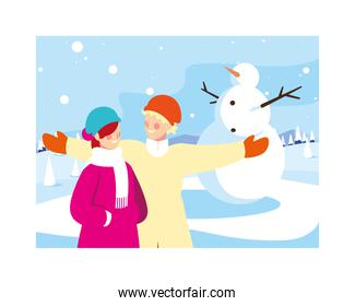 couple of people with snowman in winter landscape