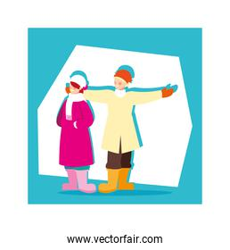 romantic scene of couple with winter clothes
