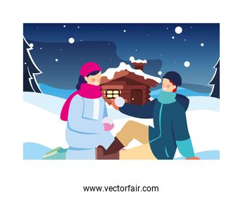 couple of people with winter landscape and family house