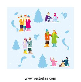 set of people with winter clothes on blue background
