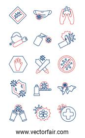 bundle of stop covid19 icons