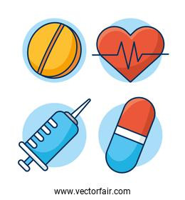 healthcare medical set isolated icons