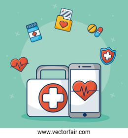 healthcare on line technology with smartphone